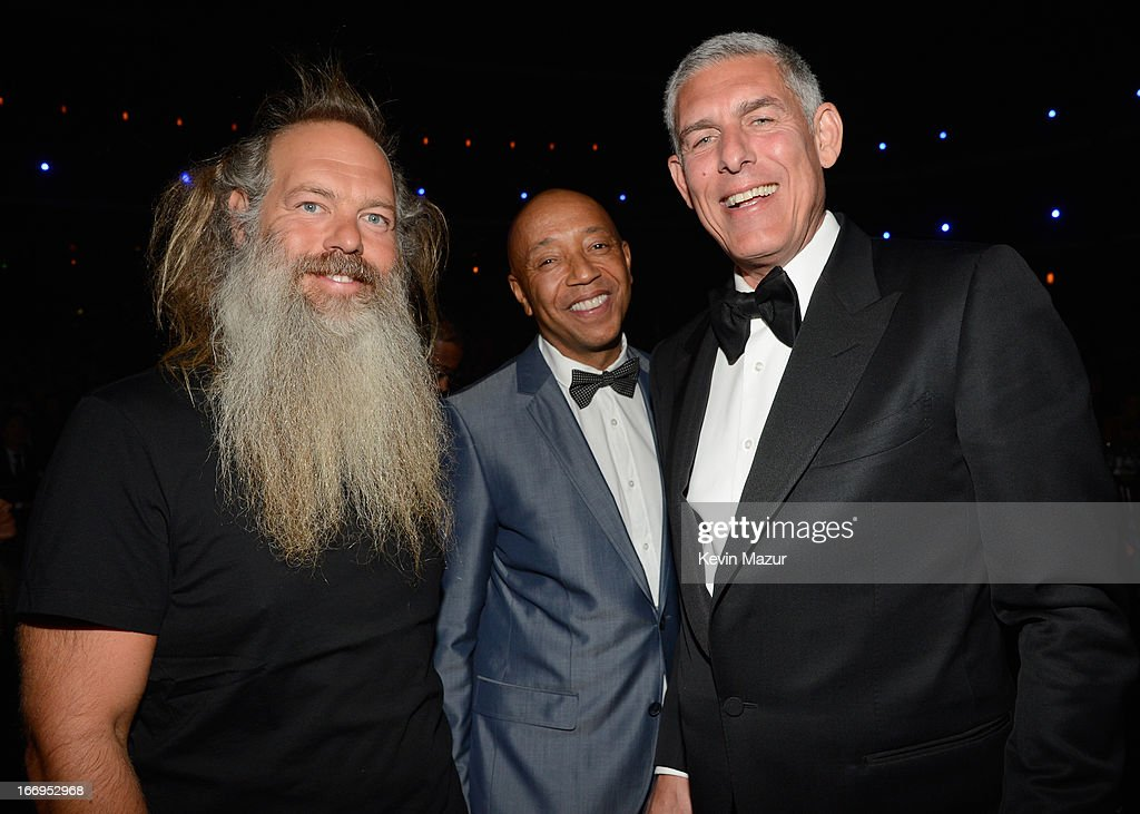 Producer Rick Rubin, entrepreneur Russell Simmons and Lyor Cohen attend the 28th Annual Rock and Roll Hall of Fame Induction Ceremony at Nokia Theatre L.A. Live on April 18, 2013 in Los Angeles, California.