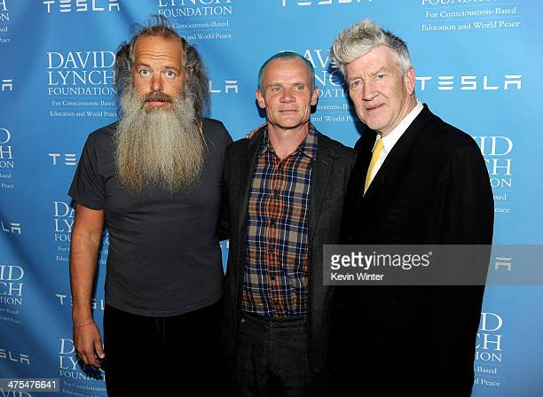 Producer Rick Rubin, musician Flea and director David Lynch pose at the David Lynch Foundation Gala Honoring Rick Rubin at the Beverly Wilshire Hotel...