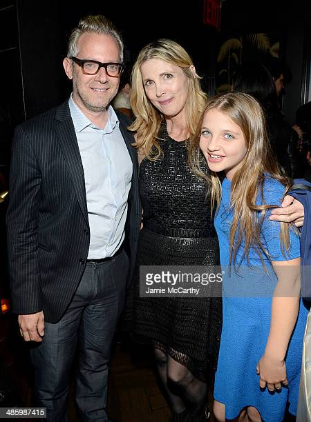 Producer Rob Carliner filmmaker Karen Leigh Hopkins and her daughter Milly Hopkins attend the Miss Meadows Premiere after party during the 2014...
