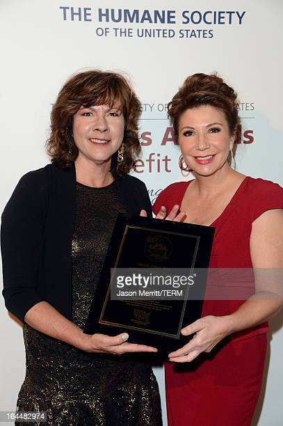 Producer Robbi Peele and TV news reporter Ana Garcia pose backstage with the Outstanding Local TV News award at The Humane Society of the United...