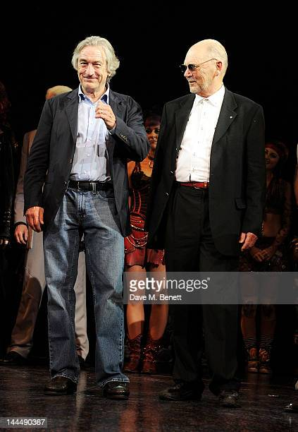 Producer Robert De Niro and Queen manager Jim Beach bow at the curtain call during the We Will Rock You 10 Year Anniversary Celebration performance...