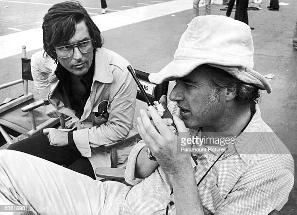 Producer Robert Evans with director John Frankenheimer on the set of the film 'Black Sunday' 1976