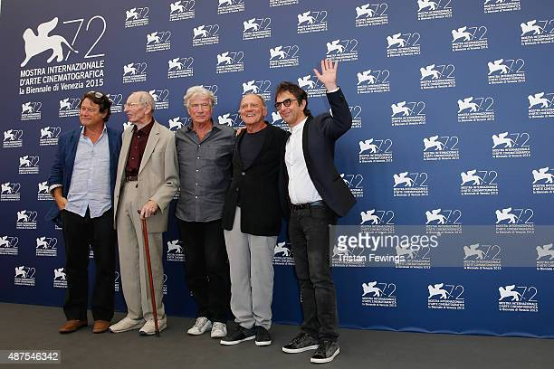 Producer Robert Lantos actors Heinz Lieven Jurgen Prochnow Bruno Ganz and director Atom Egoyan attend a photocall for 'Remember' during the 72nd...