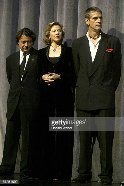 Producer Robert Lantos Annette Bening and Jeremy Irons pose for the gala screening of the film Being Julia during the 29th Annual Toronto...