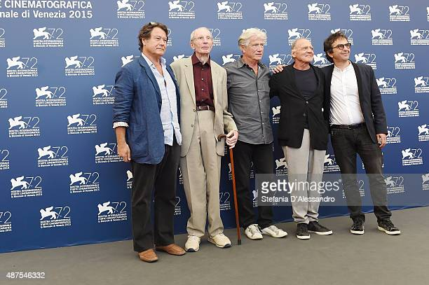 Producer Robert Lantos Heinz Lieven Jurgen Prochnow Bruno Ganz and director Atom Egoyan attend a photocall for 'Remember' during the 72nd Venice Film...