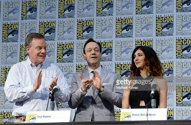 Producer Robert Tapert actor Ted Raimi and actress Dana DeLorenzo speak on stage during the Ash vs Evil Dead panel during ComicCon International at...