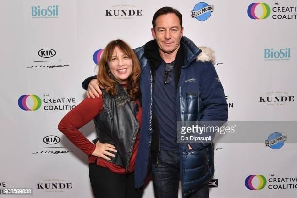 Producer Robin Bronk and actor Jason Isaacs attend the 2018 Spotlight Initiative Awards Gala Dinner at Kia Supper Suite on January 21 2018 in Park...