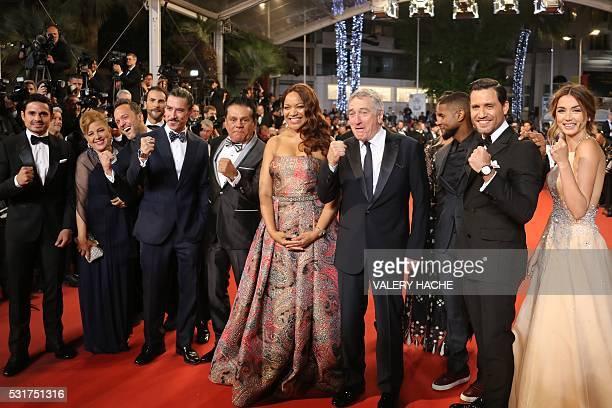 Producer Robin Duran Felicidad Duran a guest Spanish actor Oscar Jaenada Panamanian boxer Roberto Duran US actor Robert de Niro and his wife Grace...