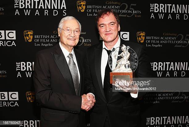 Producer Roger Corman and honoree Quentin Tarantino pose with The John Schlesinger Britannia Award for Excellence in Directing backstage at the 2012...