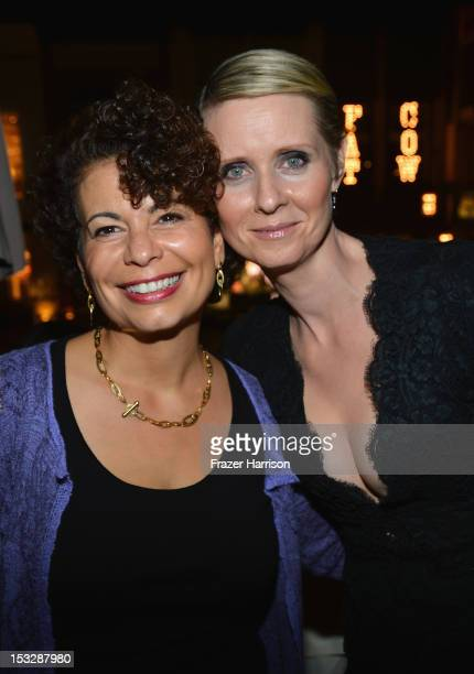 Producer Rola Bauer and actress Cynthia Nixon attend the screening of 'World Without End' after party presented by ReelzChannel at La Piazza on...