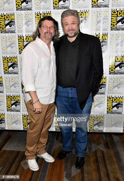 """Producer Ronald D. Moore and writer David Eick at the """"Battlestar Galactica"""" Reunion press line during Comic-Con International 2017 at Hilton..."""