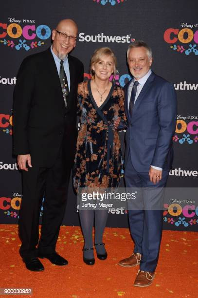 Producer Roy Conli directors Stevie WermersSkelton and Kevin Deters arrive at the premiere of Disney Pixar's 'Coco' at El Capitan Theatre on November...