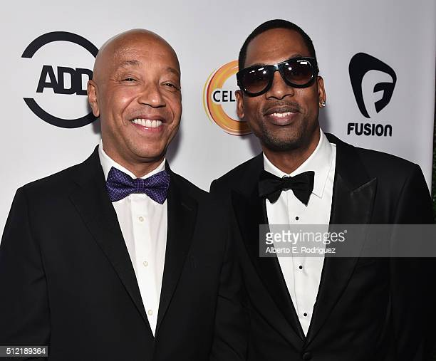 Producer Russell Simmons and actor Tony Rock attend the ALL Def Movie Awards at Lure Nightclub on February 24 2016 in Hollywood California