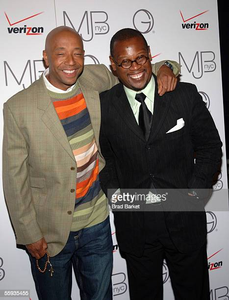 Producer Russell Simmons and producer Andre Hurrell arrive to Mary J Blige in Concert at Frederic P Rose Hall Home of Jazz at Lincoln Center on...