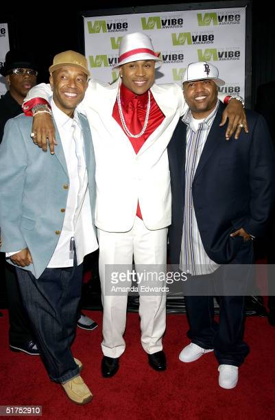 Producer Russell Simmons rapper LL Cool J and Kevin Lyles Vice President Def Jam attends the 2004 Vibe Awards on UPN at Barker Hangar November 15...