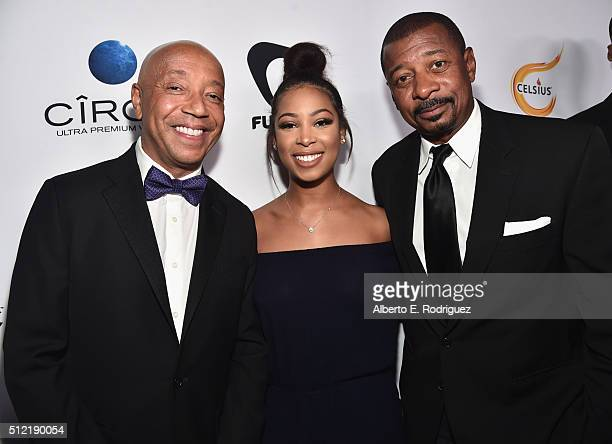 Producer Russell Simmons Skye Townsend and actor/director Robert Townsend attend the ALL Def Movie Awards at Lure Nightclub on February 24 2016 in...