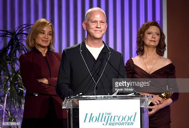 Producer Ryan Murphy and actors Jessica Lange and Susan Sarandon speak onstage during The Hollywood Reporter's Annual Women in Entertainment...