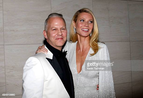 Producer Ryan Murphy and host Gwyneth Paltrow arrive at the amfAR Inspiration Gala at Milk Studios on October 29, 2015 in Hollywood, California.at...