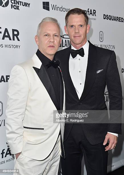 Producer Ryan Murphy and photographer David Miller attends amfAR's Inspiration Gala Los Angeles at Milk Studios on October 29 2015 in Hollywood...