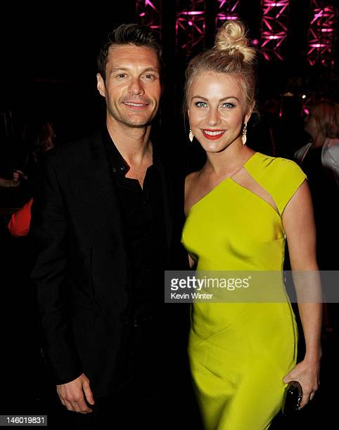 Producer Ryan Seacrest and actress Julianne Hough arrive at the after party for the premiere of Warner Bros Pictures' 'Rock Of Ages' at Hollywood and...