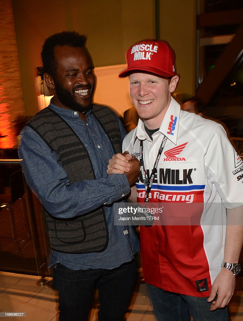 Producer Sal Masekela and supercross champion Trey Canard attend the Trey Canard 'REvival 41' premiere held at UltraLuxe Cinemas at Anaheim GardenWalk on January 3, 2013 in Anaheim, California.
