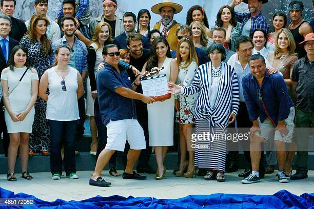 Producer Salvador Mejía and cast of Lo Imperdonable during the recording startup of the Mexican Soap Opera Lo Imperdonable on March 02 2014 in...