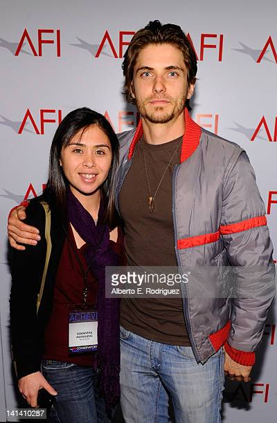 Producer Samantha Manalang and actor Caleb Hunt attend the AFI Conservatory's Thesis Showcase at Directors Guild Of America on March 15 2012 in Los...
