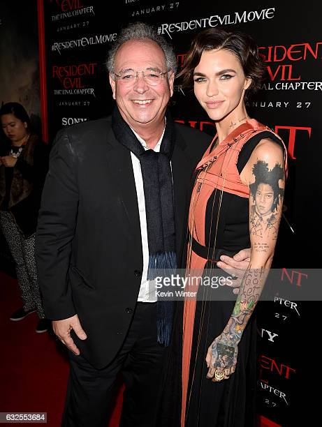 Producer Samuel Hadida and actress Ruby Rose arrives at the premiere of Sony Pictures Releasing's Resident Evil The Final Chapter at the Regal LA...