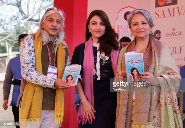 JLF Producer Sanjay Roy Veteran actress Sharmila Tagore launch Bollywood actress Soha ALi Khan's Book ' Moderately Famous' 'Literature lovers during...