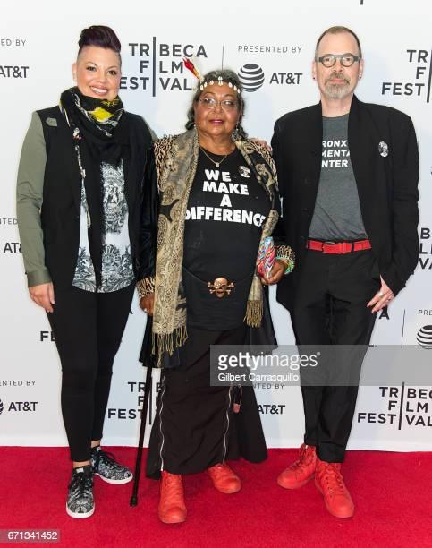 Producer Sara Ramirez, Victoria Cruz and Director David France attend 'The Death and Life of Marsha P. Johnson' Premiere during 2017 Tribeca Film...