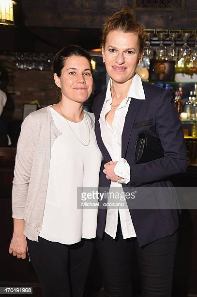 "Producer Sara Switzer and comedian Sandra Bernhard attend the premiere of the SHOWTIME original comedy series ""HAPPYish"" on April 20 2015 in New York..."