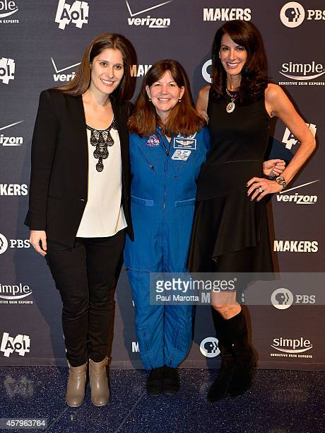 Producer Sara Wolitzky NASA astronaut Catherine Grace Cady Coleman and Web Producer Nancy Armstrong attend Makers Women In Space Screening at WGBH...