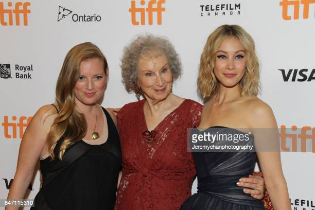 Producer Sarah Polley author Margaret Atwood and actor Sarah Gadon attend the 'Alias Grace' Premiere held at Winter Garden Theatre during the 2017...
