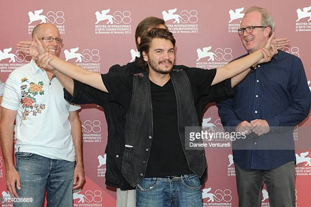 Producer Scott Einbinder director William Friedkin actor Emile Hirsch and screenwriter Tracy Letts attend the Killer Joe Photocall during the 68th...