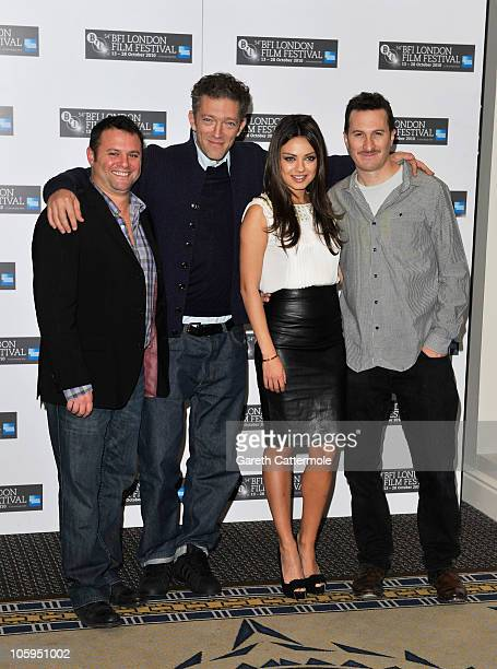 Producer Scott Franklin actor Vincent Cassel actress Mila Kunis and Director Darren Aronofsky attend the 'Black Swan' photocall during the 54th BFI...