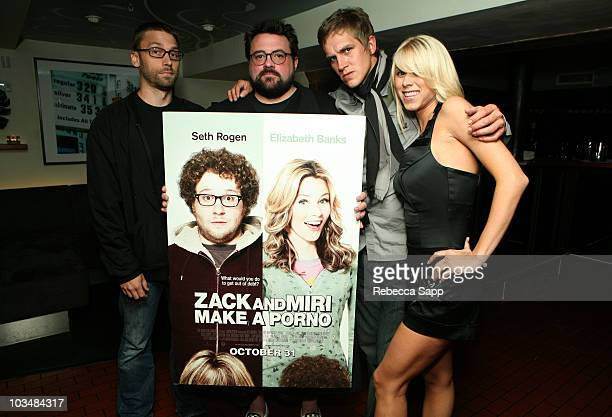 "Producer Scott Mosier, director Kevin Smith, actor Jason Mewes and actress Katie Morgan attend the dinner for ""Zack and Miri Make a Porno"" held at..."