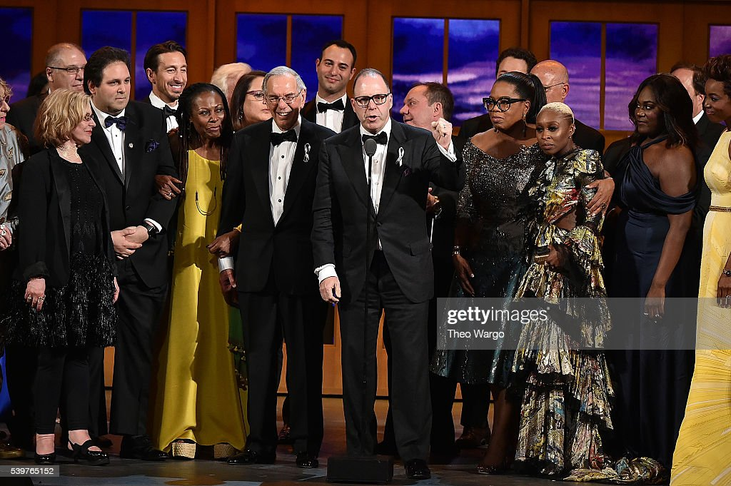 Producer Scott Sanders (C) accepts the Tony Award for Best Revival of a Musical for 'The Color Purple' with his cast and creative team onstage at the 70th Annual Tony Awards at The Beacon Theatre on June 12, 2016 in New York City.