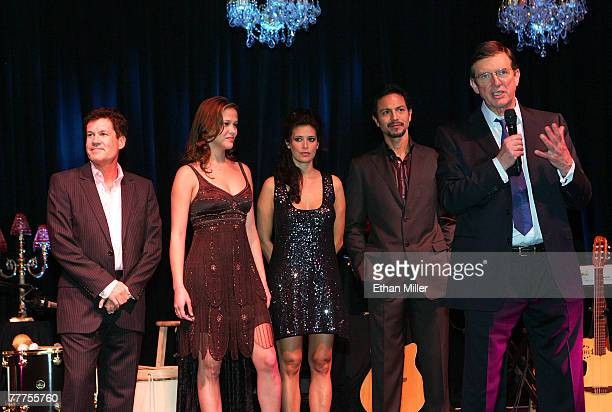 Producer Scott Steindorff actress Rubria Marcheens Negrao actress Angie Cepeda actor Benjamin Bratt and director Mike Newell onstage during 'An...