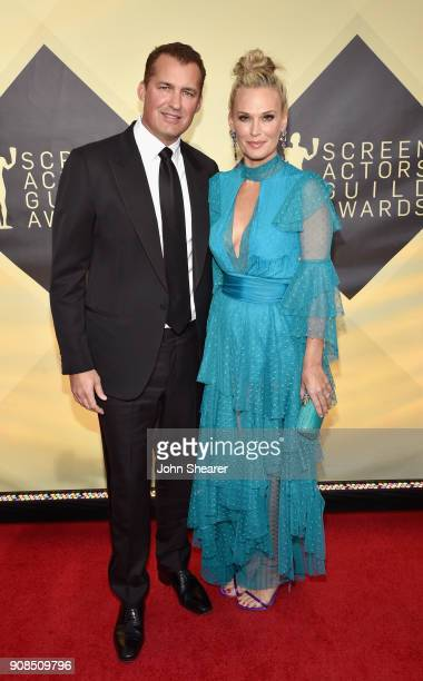 Producer Scott Stuber and model/actor Molly Sims attend the 24th Annual Screen Actors Guild Awards at The Shrine Auditorium on January 21, 2018 in...