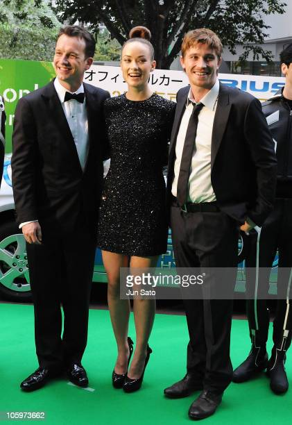 Producer Sean Bailey actress Olivia Wilde and actor Garrett Hedlund arrive at the 23rd Tokyo International Film Festival Opening Ceremony at Roppongi...