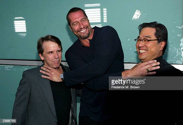 Producer Sean Cunningham actor Ken Kirzinger and director Ronny Yu attend the film premiere of Freddy vs Jason at the Cineramadome Theater on August...