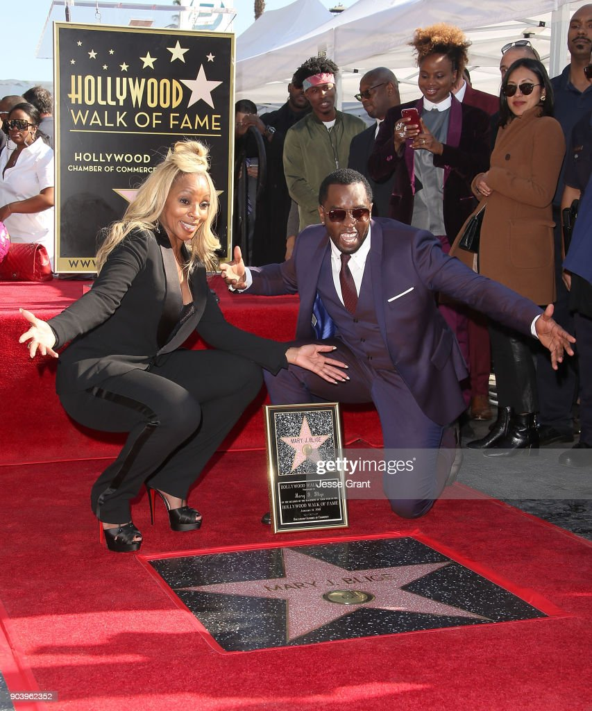 Producer Sean 'Diddy' Combs and recording artist Mary J. Blige attend the ceremony honoring Mary J. Blige with a Star on The Hollywood Walk of Fame on January 11, 2018 in Hollywood, California.