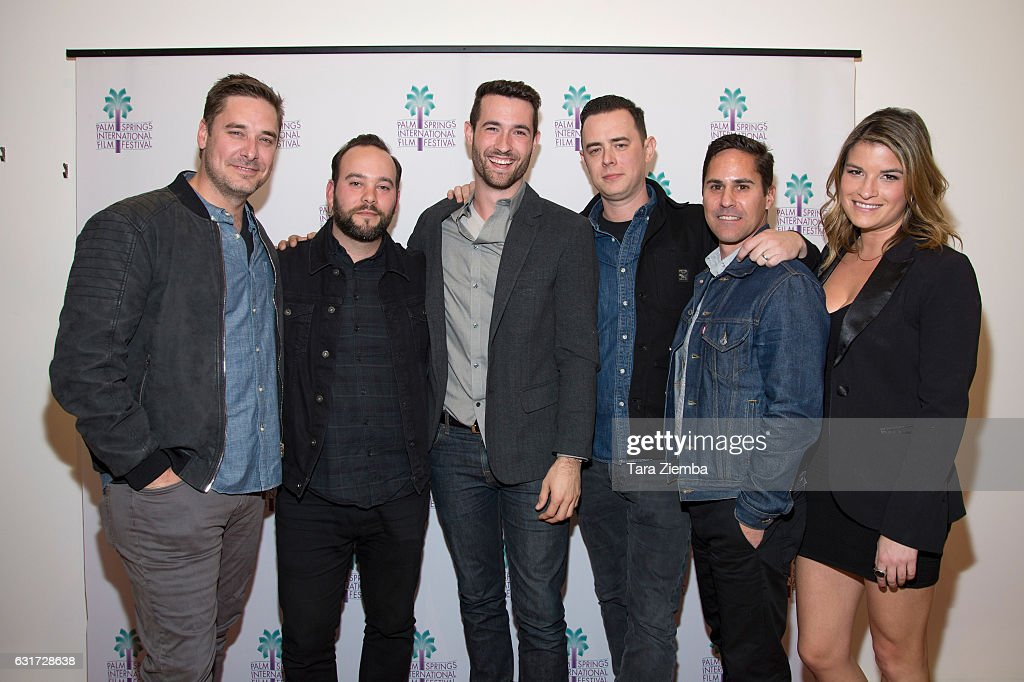 Producer Sean M. Stuart (L) and Colin Hanks (3rd from R) attend a screening of 'Eagles Of Death Metal: Nos Amis' at the 28th Annual Palm Springs International Film Festival at Annenberg Theater on January 14, 2017 in Palm Springs, California.
