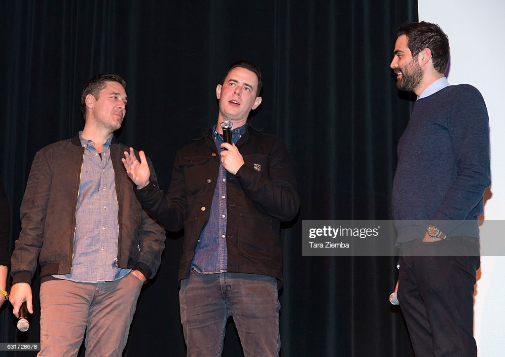 Producer Sean M. Stuart and director Colin Hanks speak during a screening of 'Eagles Of Death Metal: Nos Amis' at the 28th Annual Palm Springs International Film Festival at Annenberg Theater on January 14, 2017 in Palm Springs, California.