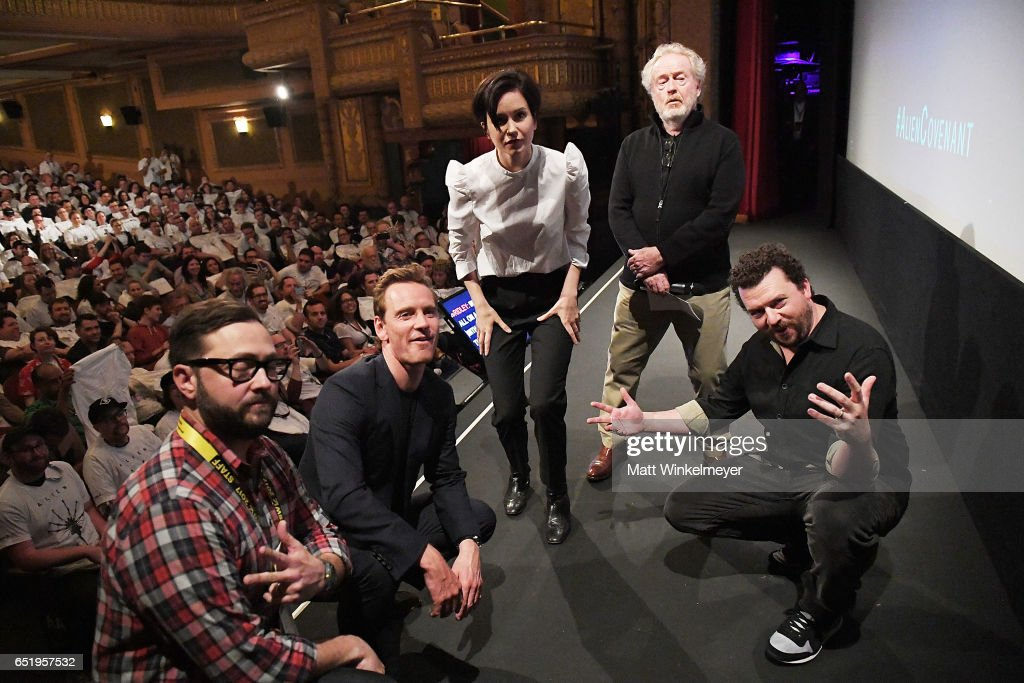 Producer & Senior Programmer of SXSW Jarod Neece, actors Michael Fassbender, Katherine Waterston, director Sir Ridley Scott, and actor Danny McBride attend the 'Alien' premiere 2017 SXSW Conference and Festivals on March 10, 2017 in Austin, Texas.