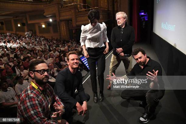 Producer Senior Programmer of SXSW Jarod Neece actors Michael Fassbender Katherine Waterston director Sir Ridley Scott and actor Danny McBride attend...