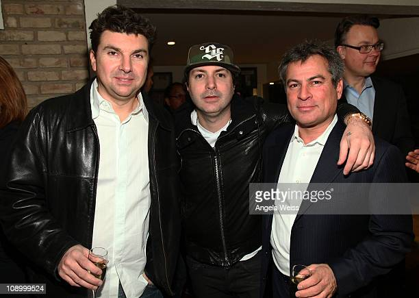Producer Serban Ghenea musician Kevin Rudolf and Partner/CoCEO of AAM Andy Kipnes attend the Friends N Family Dinner at The Jack Warner Estate on...