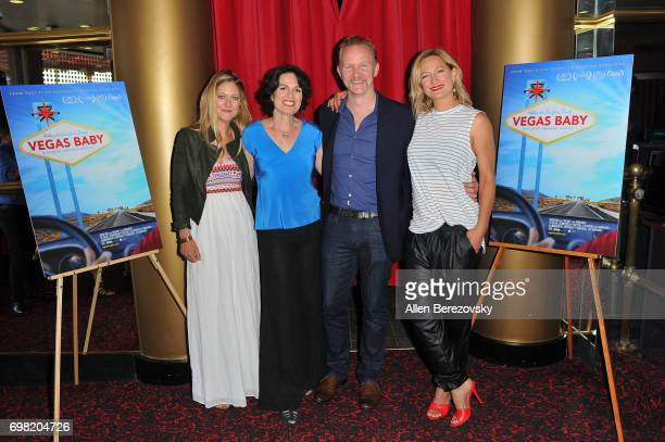 Producer Serin Marshal director Amanda Micheli producer Morgan Spurlock and actress Zoe Bell attend the Premiere of Runaway Films' 'Vegas Baby' at...