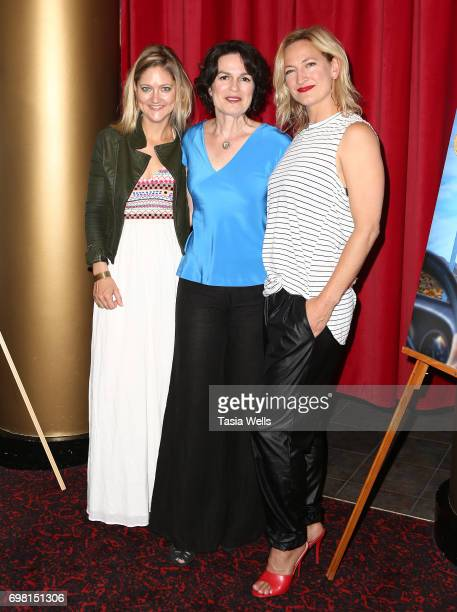 Producer Serin Marshall director Amanda Micheli and actor Zoe Bell attend the premiere of Runaway Films' 'Vegas Baby' at Ahrya Fine Arts Theater on...