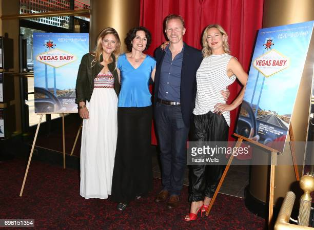 Producer Serin Marshall director Amanda Micheli executive producer Morgan Spurlock and actor Zoe Bell attend the premiere of Runaway Films' 'Vegas...